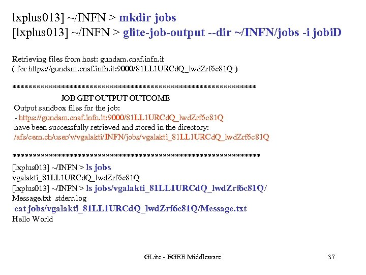 lxplus 013] ~/INFN > mkdir jobs [lxplus 013] ~/INFN > glite-job-output --dir ~/INFN/jobs -i
