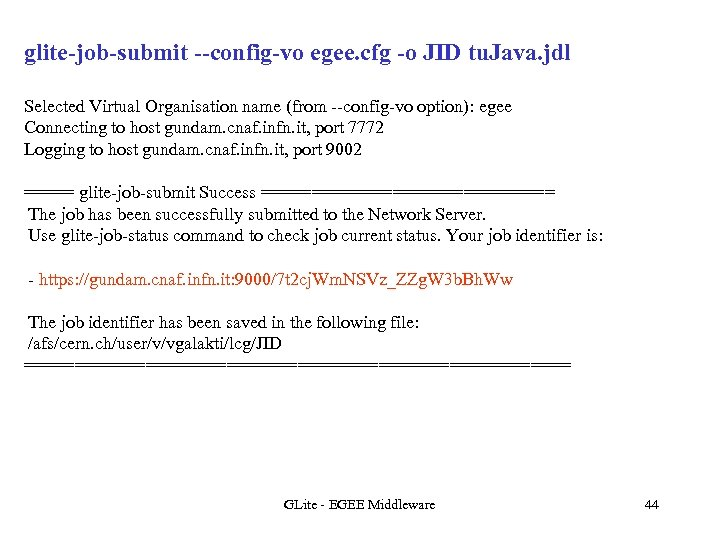 glite-job-submit --config-vo egee. cfg -o JID tu. Java. jdl Selected Virtual Organisation name (from