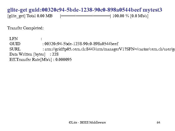 glite-get guid: 00320 c 94 -5 bde-1238 -90 c 0 -898 a 0544 beef