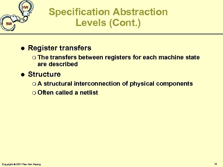 HW Specification Abstraction Levels (Cont. ) SW l Register transfers m The transfers between