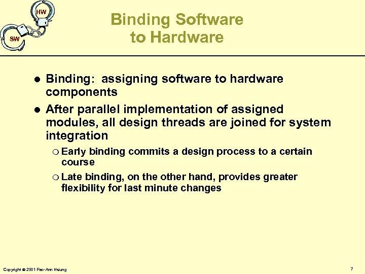 HW Binding Software to Hardware SW l l Binding: assigning software to hardware components