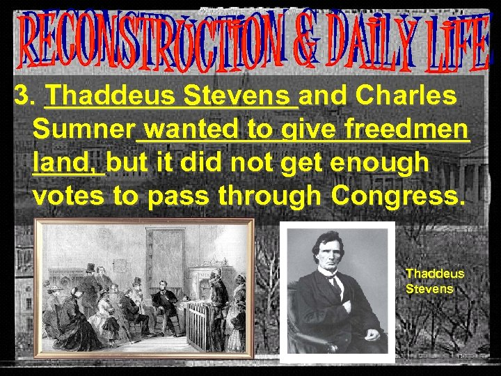 3. Thaddeus Stevens and Charles Sumner wanted to give freedmen land, but it did
