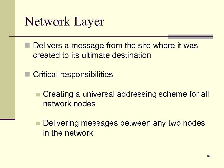 Network Layer n Delivers a message from the site where it was created to
