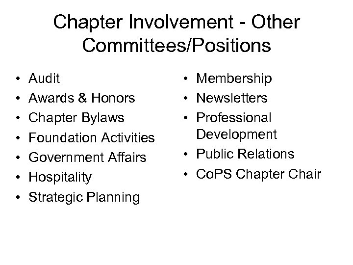 Chapter Involvement - Other Committees/Positions • • Audit Awards & Honors Chapter Bylaws Foundation
