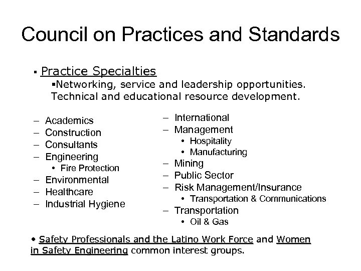 Council on Practices and Standards § Practice Specialties §Networking, service and leadership opportunities. Technical