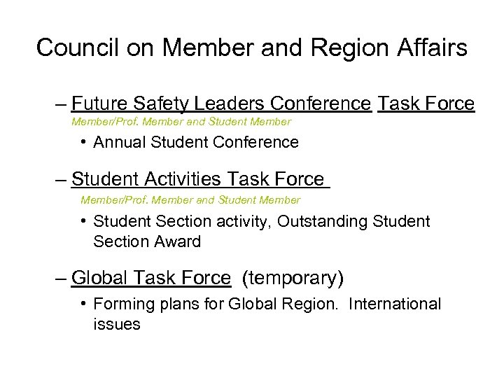 Council on Member and Region Affairs – Future Safety Leaders Conference Task Force Member/Prof.