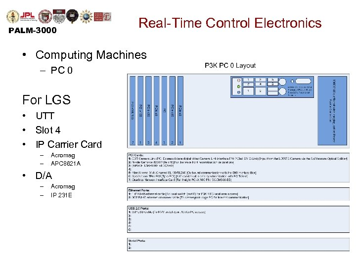 PALM-3000 Real-Time Control Electronics • Computing Machines – PC 0 For LGS • UTT