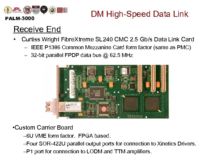 PALM-3000 DM High-Speed Data Link Receive End • Curtiss Wright Fibre. Xtreme SL 240