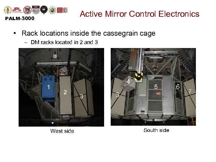Active Mirror Control Electronics PALM-3000 • Rack locations inside the cassegrain cage – DM