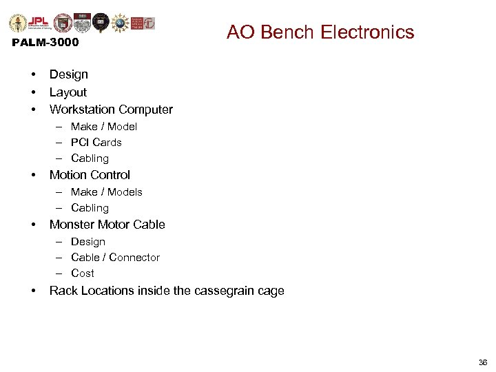 PALM-3000 • • • AO Bench Electronics Design Layout Workstation Computer – Make /