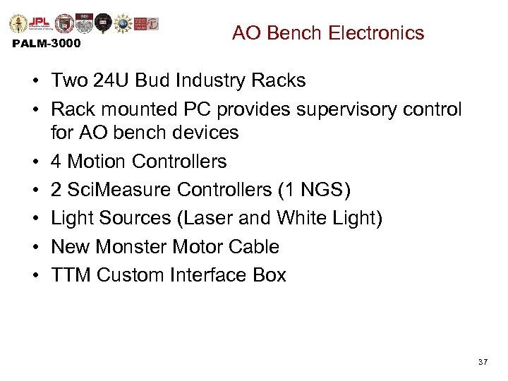 PALM-3000 AO Bench Electronics • Two 24 U Bud Industry Racks • Rack mounted