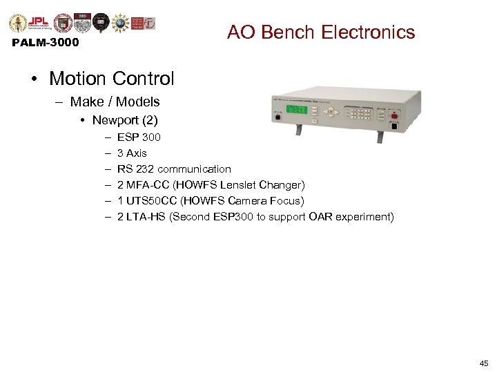 AO Bench Electronics PALM-3000 • Motion Control – Make / Models • Newport (2)