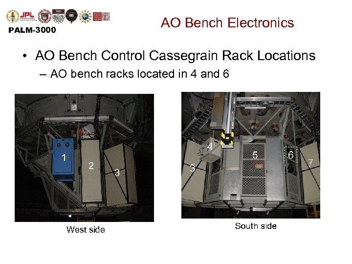 AO Bench Electronics PALM-3000 • AO Bench Control Cassegrain Rack Locations – AO bench