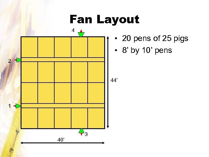 Fan Layout 4 • 20 pens of 25 pigs • 8' by 10' pens