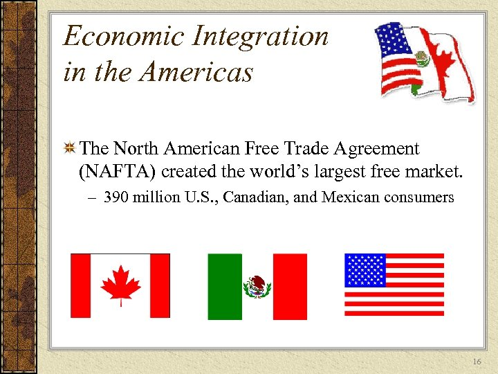 Economic Integration in the Americas The North American Free Trade Agreement (NAFTA) created the