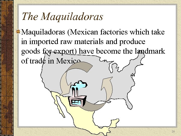 The Maquiladoras (Mexican factories which take in imported raw materials and produce goods for