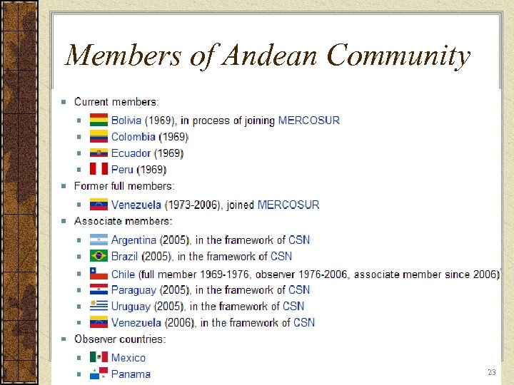 Members of Andean Community 23