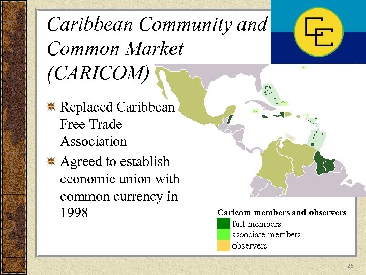 Caribbean Community and Common Market (CARICOM) Replaced Caribbean Free Trade Association Agreed to establish