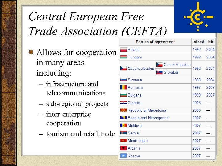 Central European Free Trade Association (CEFTA) Allows for cooperation in many areas including: –