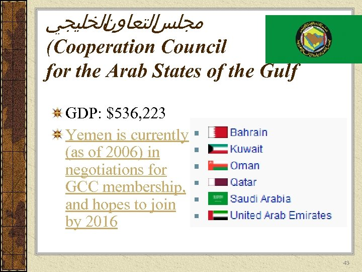 ﺍﻟﺨﻠﻴﺠﻲ ﺍﻟﺘﻌﺎﻭﻥ ﻣﺠﻠﺲ (Cooperation Council for the Arab States of the Gulf GDP: