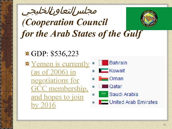 ﺍﻟﺨﻠﻴﺠﻲ ﺍﻟﺘﻌﺎﻭﻥ ﻣﺠﻠﺲ (Cooperation Council for the Arab States of the Gulf GDP: