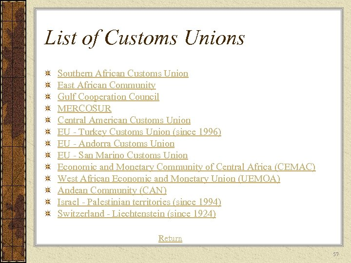 List of Customs Unions Southern African Customs Union East African Community Gulf Cooperation Council