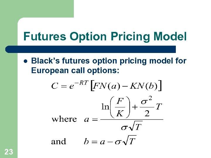 Futures Option Pricing Model l 23 Black's futures option pricing model for European call