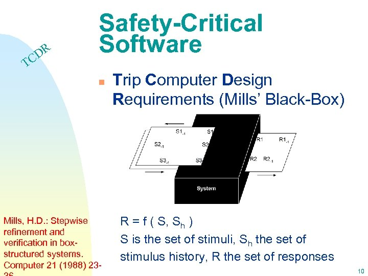 DR C Safety-Critical Software T n Mills, H. D. : Stepwise refinement and verification