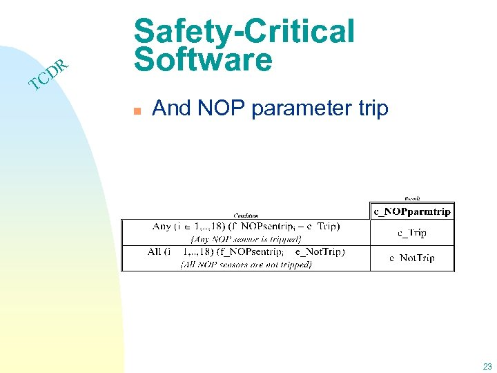 DR C Safety-Critical Software T n And NOP parameter trip 23