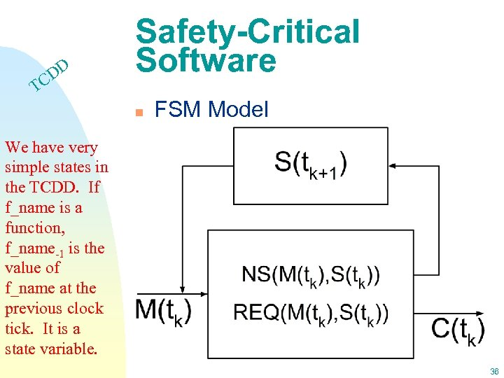 DD C Safety-Critical Software T n FSM Model We have very simple states in