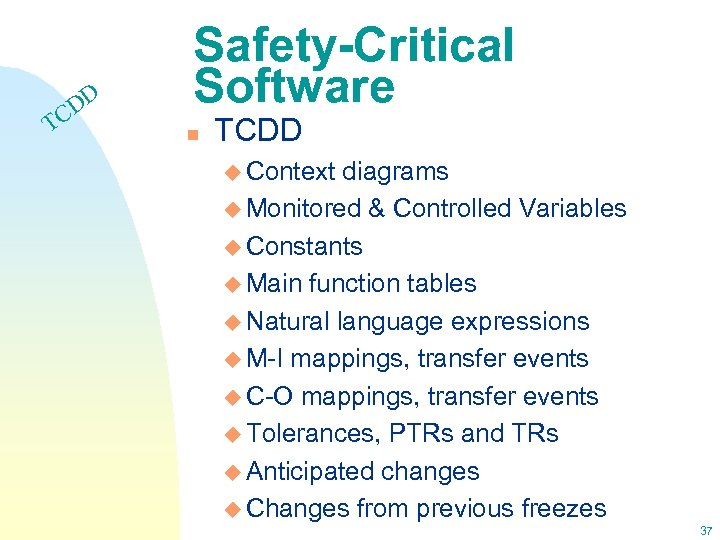 T DD C Safety-Critical Software n TCDD u Context diagrams u Monitored & Controlled