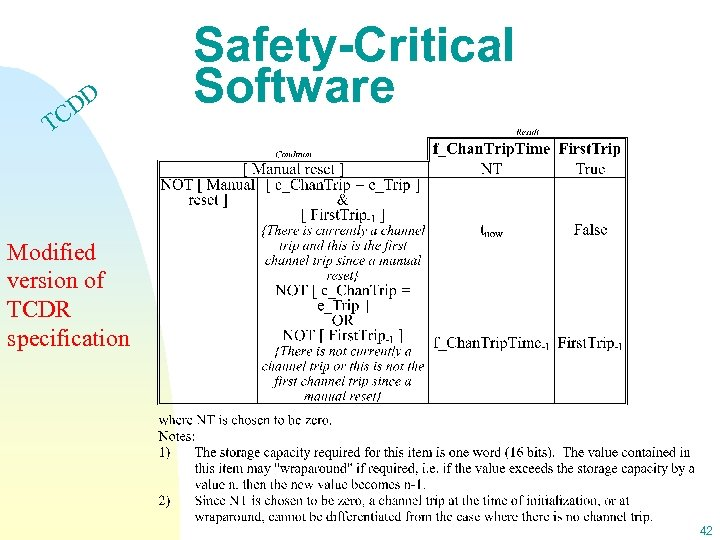 DD C Safety-Critical Software T Modified version of TCDR specification 42