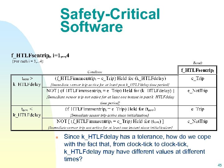 Safety-Critical Software n Since k_HTLFdelay has a tolerance, how do we cope with the