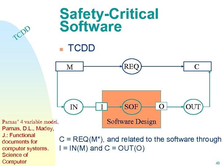 DD C Safety-Critical Software T n TCDD REQ M IN I SOF C O