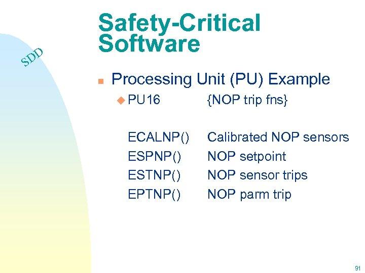 DD S Safety-Critical Software n Processing Unit (PU) Example u PU 16 ECALNP() ESPNP()