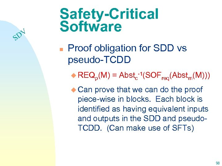 DV S Safety-Critical Software n Proof obligation for SDD vs pseudo-TCDD u REQp(M) =