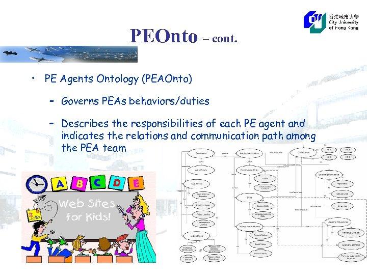 PEOnto – cont. • PE Agents Ontology (PEAOnto) – Governs PEAs behaviors/duties – Describes