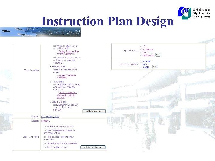 Instruction Plan Design