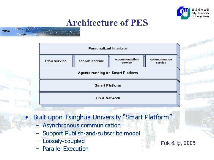 "Architecture of PES • Built upon Tsinghua University ""Smart Platform"" – – Asynchronous communication"
