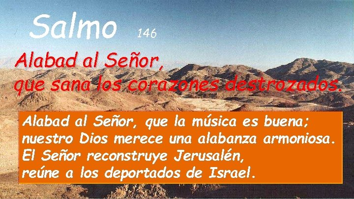 Salmo 146 Alabad al Señor, que sana los corazones destrozados. Alabad al Señor, que