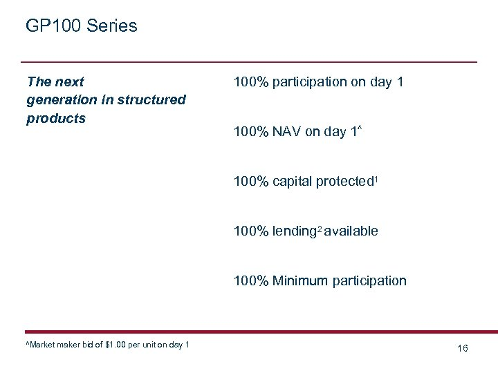 GP 100 Series The next generation in structured products 100% participation on day 1