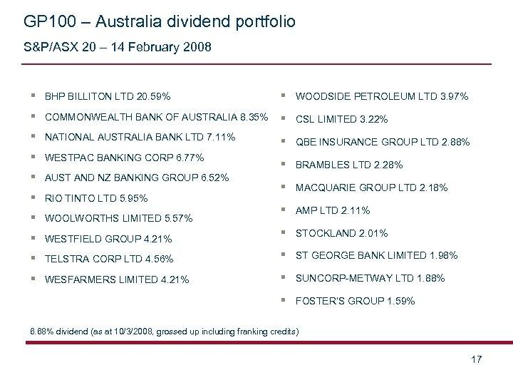 GP 100 – Australia dividend portfolio S&P/ASX 20 – 14 February 2008 § BHP