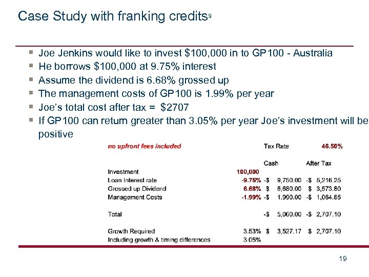 Case Study with franking credits 9 § § § Joe Jenkins would like to