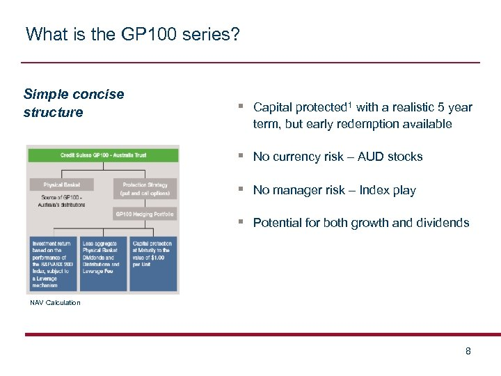 What is the GP 100 series? Simple concise structure § Capital protected 1 with