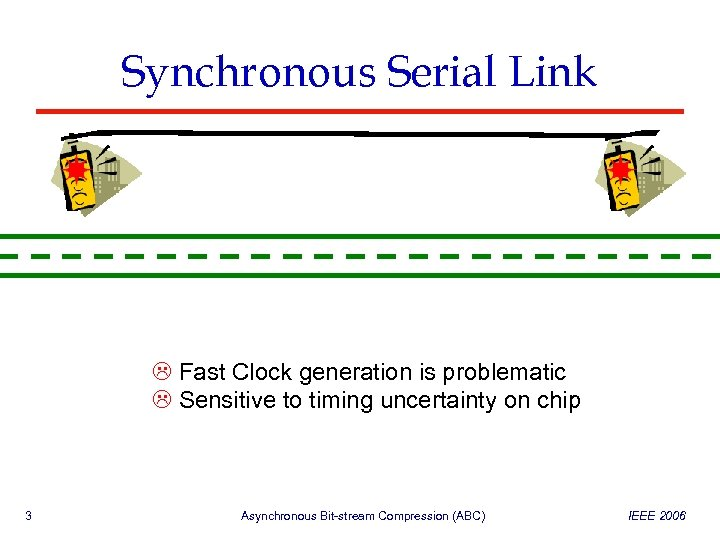 Synchronous Serial Link Fast Clock generation is problematic Sensitive to timing uncertainty on chip