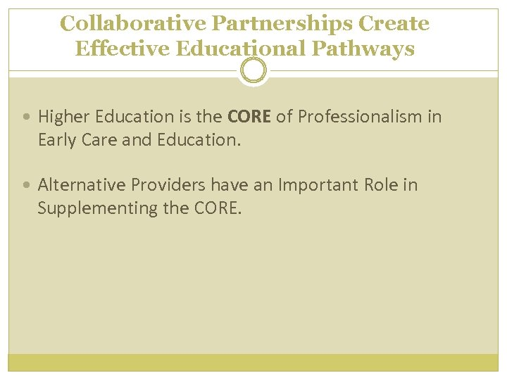 Collaborative Partnerships Create Effective Educational Pathways Higher Education is the CORE of Professionalism in