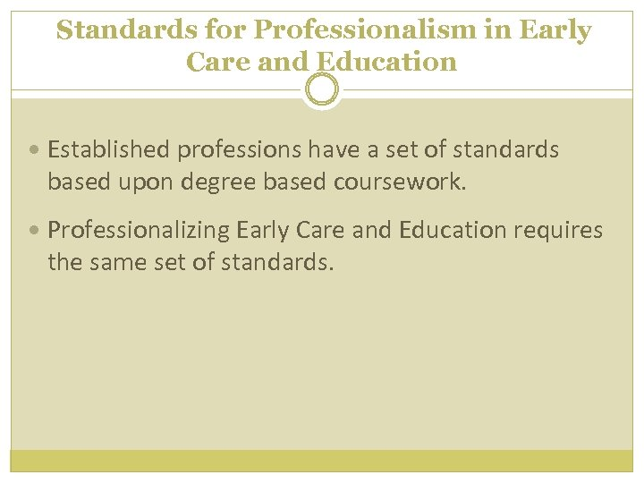 Standards for Professionalism in Early Care and Education Established professions have a set of