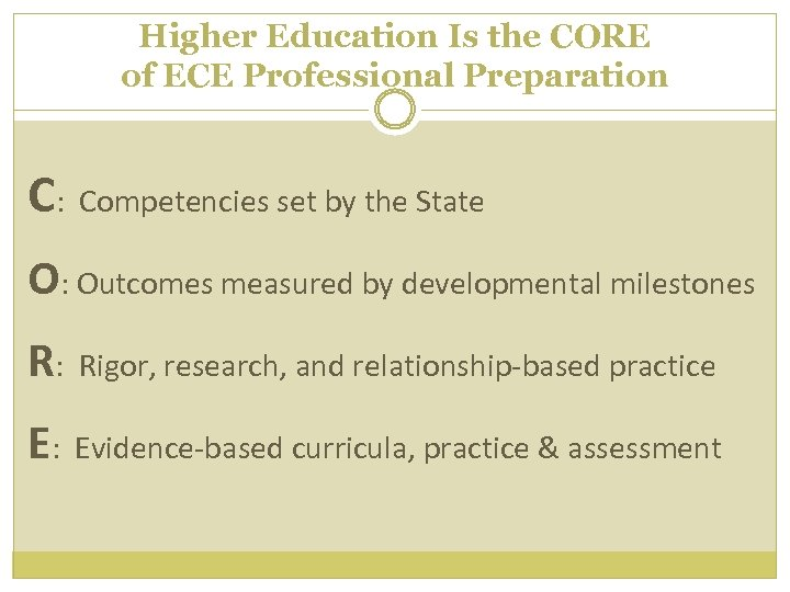 Higher Education Is the CORE of ECE Professional Preparation C: Competencies set by the