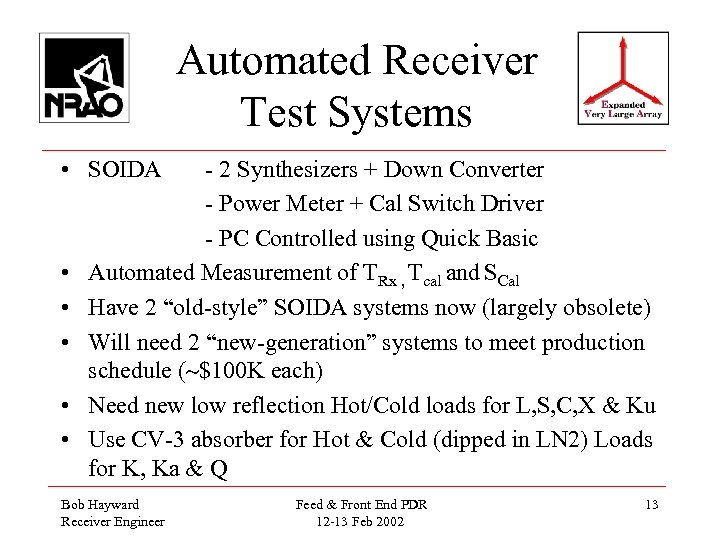 Automated Receiver Test Systems • SOIDA • • • - 2 Synthesizers + Down