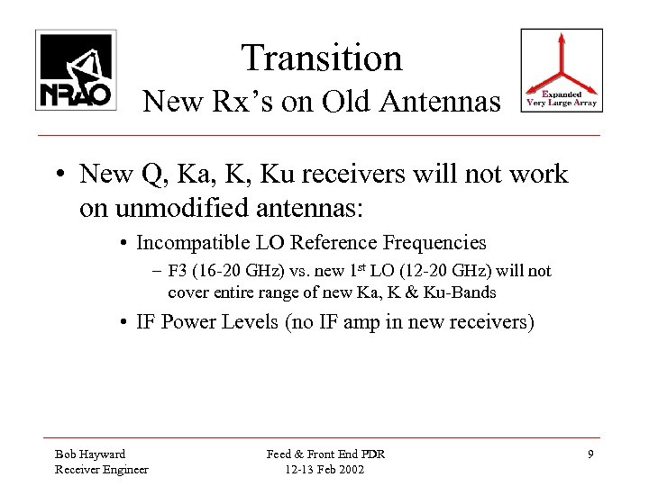 Transition New Rx's on Old Antennas • New Q, Ka, K, Ku receivers will